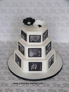 Wedding Cake With Edible Photos OK. So it isn't *technically* a wedding cake. Wedding Anniversary Cakes, Anniversary Parties, Wedding Cakes, Beautiful Cakes, Amazing Cakes, Dad Cake, Edible Printing, Crazy Cakes, Love Cake