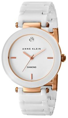 """Anne Klein"" ~ Women's ""Diamond-Accented White Ceramic Bracelet Watch"" ~ ""Awesome Watch Beautiful and Stands Out While Catching The Eye"" . Trendy Watches, Elegant Watches, Beautiful Watches, Cool Watches, Watches For Men, White Watches, Women's Watches, Bvlgari Pour Femme, Watch Sale"