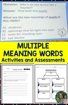 Multiple Meaning Words Activities and Assessments Multiple Meaning Words, Teaching Resources, Teaching Ideas, Upper Elementary, Graphic Organizers, My Teacher, Task Cards, Quizzes, Assessment