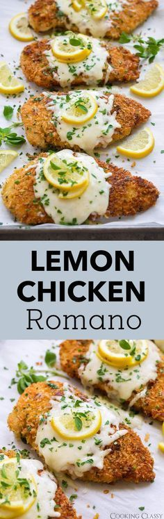 Lemon Chicken Romano - Cooking Classy - Lemon Chicken Romano- my family LOVES this recipe! Food Dishes, Main Dishes, Cooking Recipes, Healthy Recipes, Turkey Recipes, I Love Food, Italian Recipes, Italian Cooking, Favorite Recipes