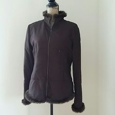 Hennes collection for h&m jacket Really cute and good condition chocolate brown, zippered fabric jacket with faux fur at the collar and cuffs. There is no pilling, discoloration or rips/tears.  One small zippered pocket on the front.  It is 100 % polyester and it is lined. H&M Jackets & Coats