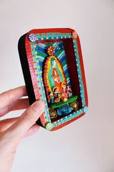 Virgin Mary Box frame Mexican folk art style with ceramic by TheVirginRose, $34.00