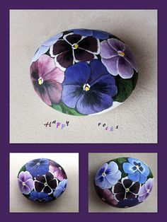 Pansies painted on rocks.  Hmmm, put my Donna Dewberry painting to good use! Pebble Painting, Pebble Art, Stone Painting, Diy Painting, Happy Rock, Stone Crafts, Rock Crafts, Rock Painting Designs, Painting Patterns