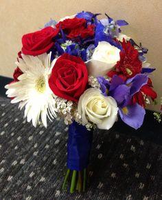 A patriotic wedding! Gerbera daisies, delphinium, roses, dahlias, and more. All InBloom Columbus OH