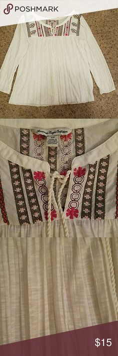 "American Eagle Outfitters  Shirt Size S/P.   NWOT,  Embroidery work around shoulders and on the back.  Slit in front with tie.  100% polyester with embroidered area cotton. Armpit to armpit 18"",  top to bottom 22"", Sleeve length 14"" with very narrow elastic at wrist area.  Just too cute! American Eagle Outfitters Tops Blouses"