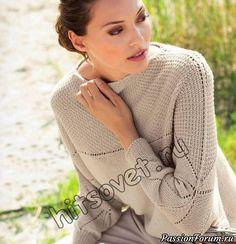 Вам потребуется: 450 (500) грамм бежевой пряжи, состоящей из 100% натуральной шерсти, длиной нити 160 метров в 50 граммах, круговые спицы № 4. Размеры пуловера кимоно: 36-38 (40-42).