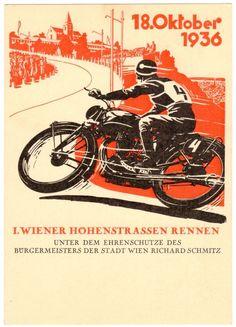 POSTCARD AUSTRIAN 1936 MOTORCYCLE RACE VIENNA HOHENSTRASSEN-RENNEN