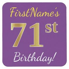 Purple Faux Gold 71st Birthday  Custom Name Square Paper Coaster - birthday diy gift present custom ideas