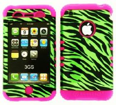 Pink and green zebra iPhone case