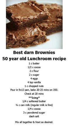 Best Darn Brownies ~ 50 Year Old School Lunchroom Recipe Brownie Recipes, Cookie Recipes, Dessert Recipes, Dessert Bars, Bar Recipes, Dessert Food, Family Recipes, Lunch Recipes, Think Food