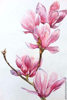 Купить Картина акварелью Розовый шторм - розовый, цветы, магнолии, акварель, акварельная картина, весна