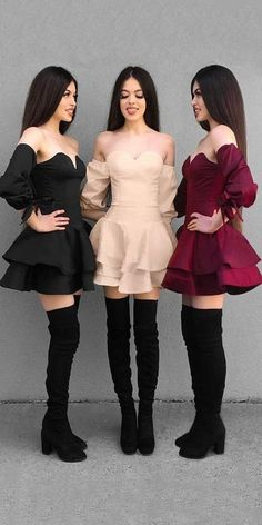 Off the Shoulder Sweetheart Long Sleeves Short Homecoming Dresses, Shop plus-sized prom dresses for curvy figures and plus-size party dresses. Ball gowns for prom in plus sizes and short plus-sized prom dresses for Twin Outfits, Cute Outfits, Gym Outfits, Homecoming Dresses, Wedding Dresses, Sweetheart Dress, Popular Dresses, Belted Dress, Dress Long