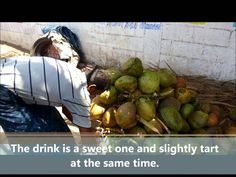 In the film we can see the process of preparing coconut. After the preparation you can drink a coconut water straight from the fruit.