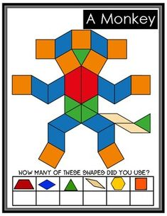 Pattern Block Cards by Bilingual Printable Resources Pattern Worksheets For Kindergarten, Fun Worksheets, Kindergarten Math, Teaching Math, Maths, Pattern Block Templates, Pattern Blocks, Math Patterns, Simple Math