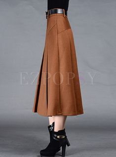 Shop for high quality Brief Pleat Pure Color Skirt online at cheap prices and discover fashion at Ezpopsy.com 50s Skirt, Waist Skirt, Midi Skirt, High Waisted Skirt, Dress Skirt, Urban Fashion Women, Funky Fashion, Womens Fashion Stores, Skirt Online