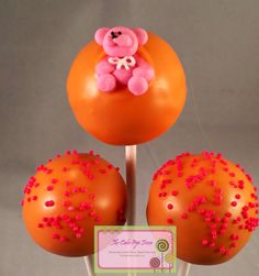 Pink & orange Baby shower cake pops