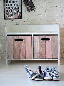 Nábytok - Lavička - botník menší ARLEN BROWN / PINK No.1 - 5709222_
