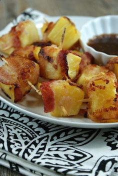 Bacon Wrapped Pineapple Bites with Soy Ginger Dipping Sauce