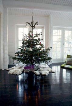 fur around christmas tree