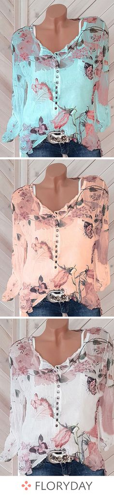 Floral Chiffon V-Neckline Long Sleeve Blouses floral tops blouses tops chiff Look Fashion, Spring Fashion, Autumn Fashion, Fashion Outfits, Womens Fashion, Latest Outfits, Fashion News, Mode Style, Style Me