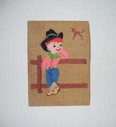 Vintage LIttle Cowboy Wall Hanging Picture Made by Vintagecritter, $25.00