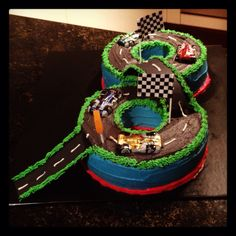 Race car track cake. this would be cute for an 8th birthday since it looks like an 8!