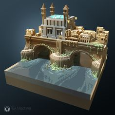 A medieval bridge made in voxels, inspired by the last episode of GameOfThrones ;)