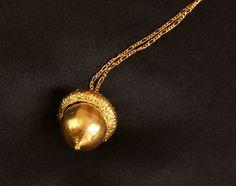 Real acorn galvanically coppered and gold plated, pendant, necklace; Echte Eichel verkupfert und vergoldet, Halskette von GALVANITY auf Etsy
