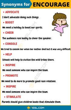 ENCOURAGE Synonym: List of 20 Synonyms for Encourage with Useful Examples - 7 E S L