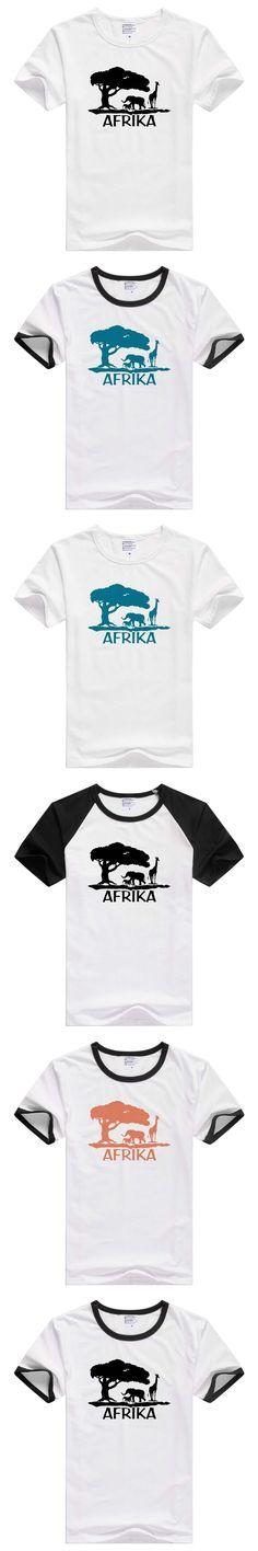 Africa elephant giraffe short sleeve casual men T shirt Comfortable Tshirt Cool Print Top Fashion Tees Novelty tee funny GA030