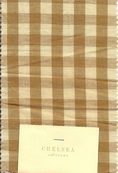 "Chelsea Editions ""Small Check."" Chelsea Textiles, New Homes, Interior Ideas, Linens, House Ideas, Fabrics, Check, Home Decor, Indian"