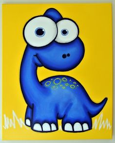 bLUe dINOSaUR - 16 x 20 original painting, dinosaur art for kids room or nursery, dinosaur wall art
