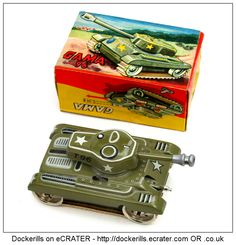 T96 Tank, GAMA, West Germany. Vintage Tin Litho Tin Plate Toy. Wind-Up / Clockwork Mechanism. With spark.