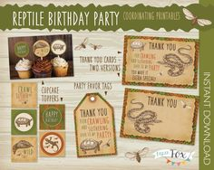 Reptile Birthday Party Essentials Pack - Reptile Cupcake Toppers, Reptile Thank You Cards, Reptile Favor Bag Tags, Boy Birthday / PRINTABLE by PaperFoxStudios on Etsy https://www.etsy.com/uk/listing/186029270/reptile-birthday-party-essentials-pack