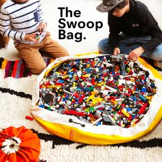 Swoop Bags: Toy Storage Bags + Ideal for LEGOS! •Made in SEATTLE • #legostorageideas #swoopbags | lego bags | toy storage bags | toy mat | brick bag | swoop | swoop bags | lego storage ideas | how to cleanup legos Toy Storage Baskets, Lego Storage, Storage Containers, Toy Storage Solutions, Storage Ideas, Organization Ideas, Cleaning Toys, Cleaning Supplies, Wooden Train
