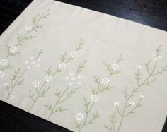 Flower Placemats Linen Placemats set of 4 Oatmeal by KainKain
