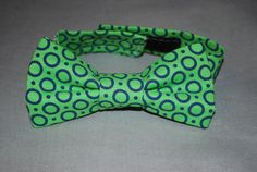 Ready to Ship Boy's Bow Tie- green with blue dots $12.99