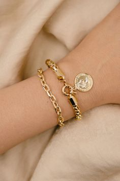 18K Gold Filled Coin Bracelets