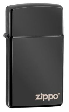 Zippo Slim Ebony Lighter with Zippo Logo (Ebony, 5 1/2x3 1/2-cm)