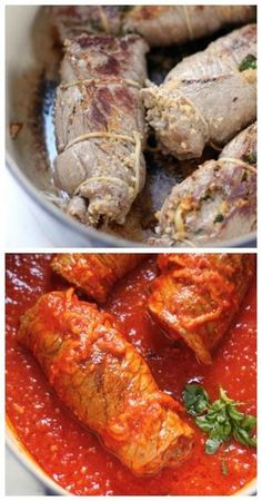 Sicilian Braciole - Thin slices of steak are stuffed with Italian herbs and cheese, then cooked in Marinara sauce!Homemade Sicilian Braciole - Thin slices of steak are stuffed with Italian herbs and cheese, then cooked in Marinara sauce! Salsa Marinara, Marinara Sauce, Meat Recipes, Dinner Recipes, Cooking Recipes, Cooking Pork, Beef Dishes, Pasta Dishes, Beef Braciole