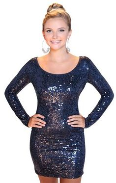 long sleeved navy colored sequin homecoming dress