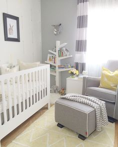 Soft yellow and grey gender-neutral nursery