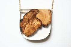 Large modern squared  pendant from Australian Olive wood by BoldB, $59.00