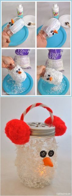 Snowman Mason Jar Luminary Super cute winter DIY craft idea for kids. Makes fun…