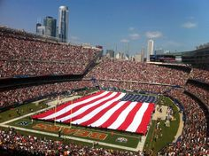 Soldier Field, Chicago, Illinois, on 09-11-2011. 10 year anniversary of September 11, 2001.