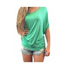 Women Short Sleeve O Neck Backless Lace Hollow T-shirt ($8.49) ❤ liked on Polyvore featuring tops, t-shirts, green, short sleeve t shirt, green top, backless t shirt, summer tees and green tee