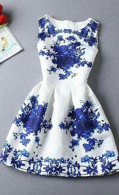 PorcelainFloral Jacquard Skater Dressfeaturing vintage floral print…