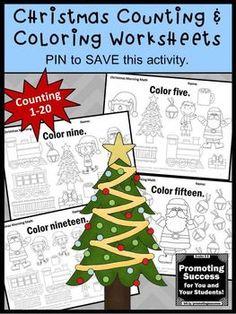 Christmas Math Counting and Coloring Worksheets No Prep Kindergarten ...