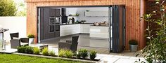 Bifold and Bi-folding Aluminium Doors British Made and Totally Bespoke Aluminium Kitchen, Aluminium Doors, Windows 20, Bay Door, Four Seasons Room, Sliding French Doors, Roof Lantern, Kitchen Doors, Folding Doors