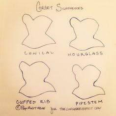 Corset silhouettes, illustrated by Pop Antique. Conical, hourglass, cupped rib, and pipestem.